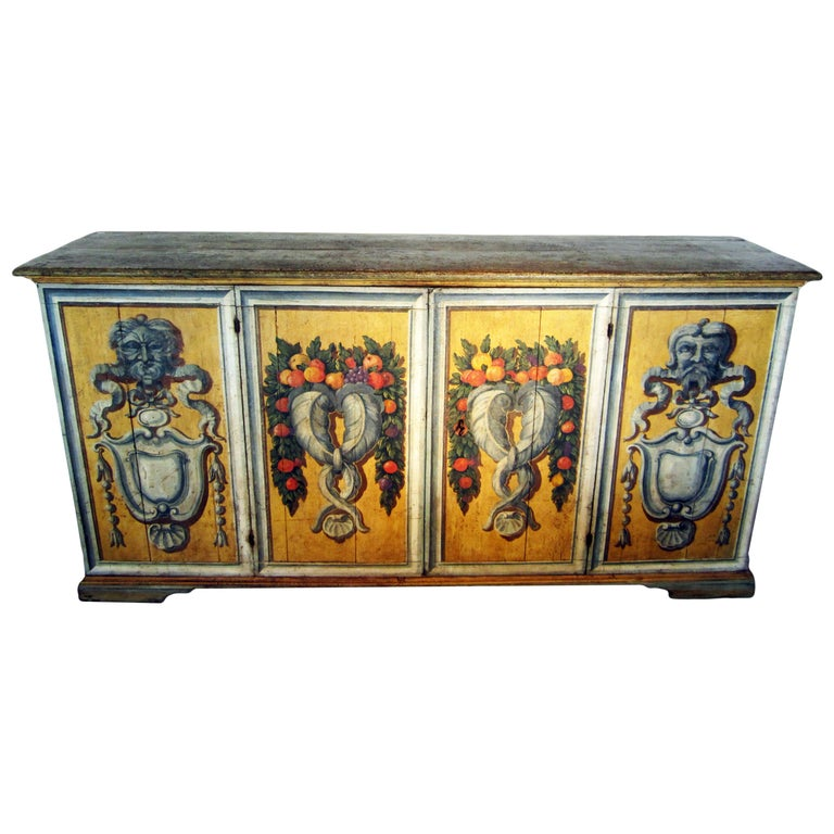 """""""Genova"""" 19th Century Italian Credenza  , Painted Wood  Sideboard For Sale"""