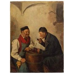 Genre Painting of Men Conversing by Hedwig Oehring (German, 1855-1907)