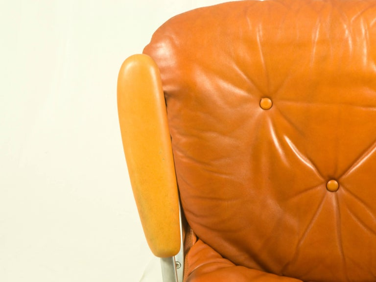 Gentilina Leather Armchairs by André Vandenbeuck for Strässle, 1960s, Set of Two For Sale 2