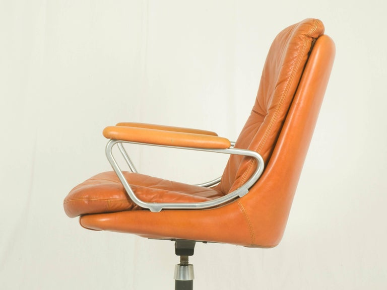 Painted Gentilina Leather Armchairs by André Vandenbeuck for Strässle, 1960s, Set of Two For Sale