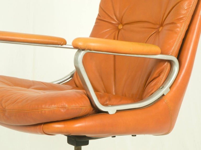 Metal Gentilina Leather Armchairs by André Vandenbeuck for Strässle, 1960s, Set of Two For Sale