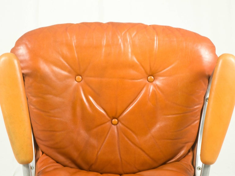 Gentilina Leather Armchairs by André Vandenbeuck for Strässle, 1960s, Set of Two For Sale 1