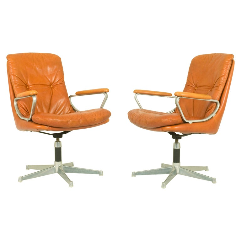 Gentilina Leather Armchairs by André Vandenbeuck for Strässle, 1960s, Set of Two For Sale