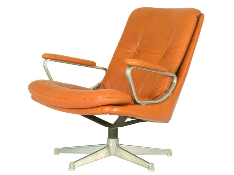 Space Age Gentilina Leather Lounge Chairs by André Vandenbeuck for Strässle, 1960s, Pair For Sale