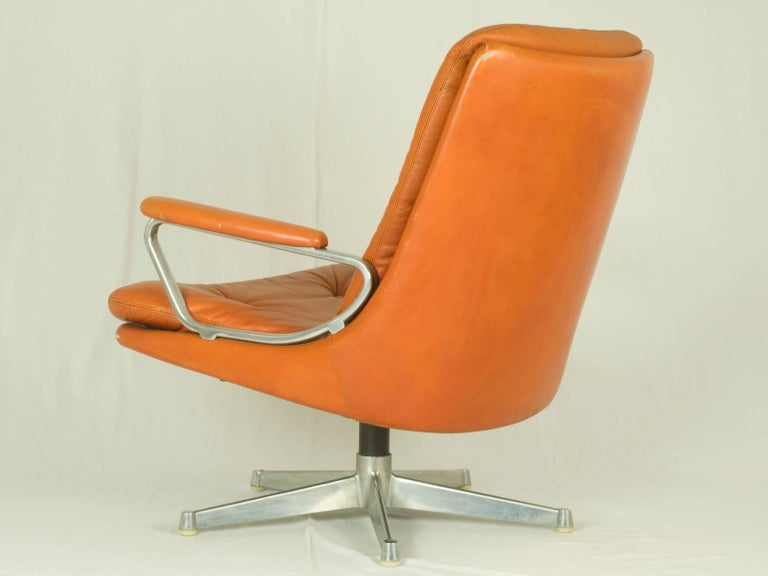 Swiss Gentilina Leather Lounge Chairs by André Vandenbeuck for Strässle, 1960s, Pair For Sale