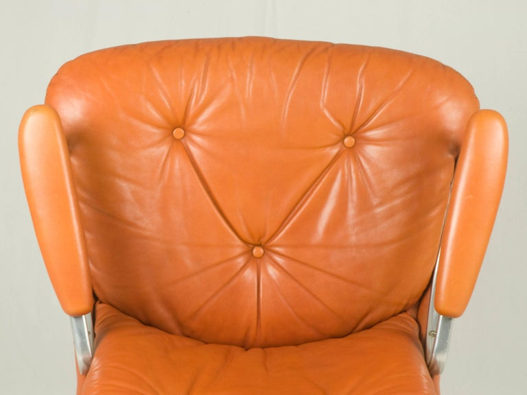 Mid-20th Century Gentilina Leather Lounge Chairs by André Vandenbeuck for Strässle, 1960s, Pair For Sale