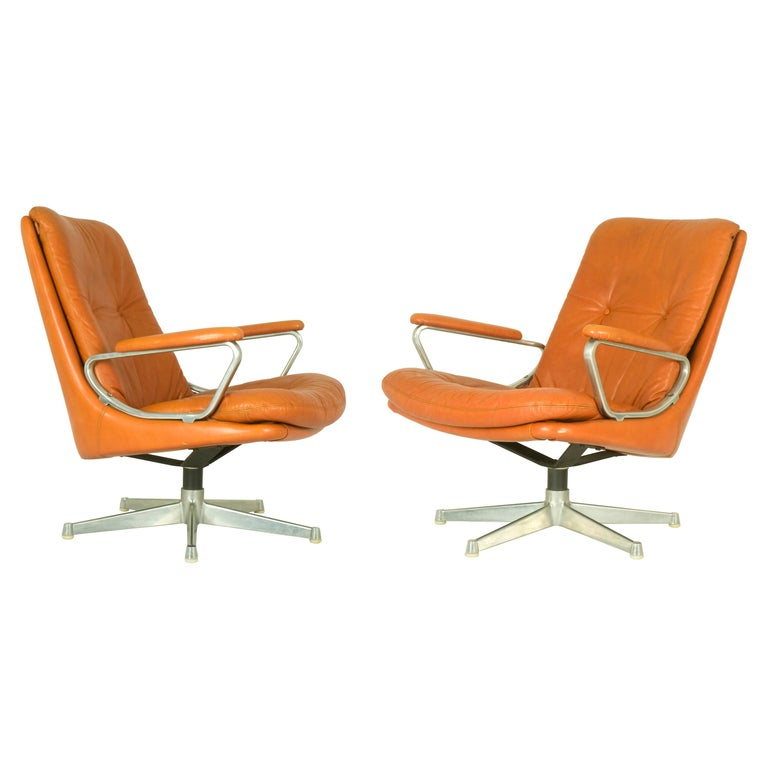 Gentilina Leather Lounge Chairs by André Vandenbeuck for Strässle, 1960s, Pair For Sale