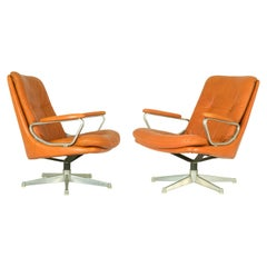 Gentilina Leather Lounge Chairs by André Vandenbeuck for Strässle, 1960s, Pair
