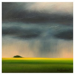 """""""Gentle Rain"""" Green, Blue, Yellow Oil on Canvas Storm Landscape by Ian Sheldon"""