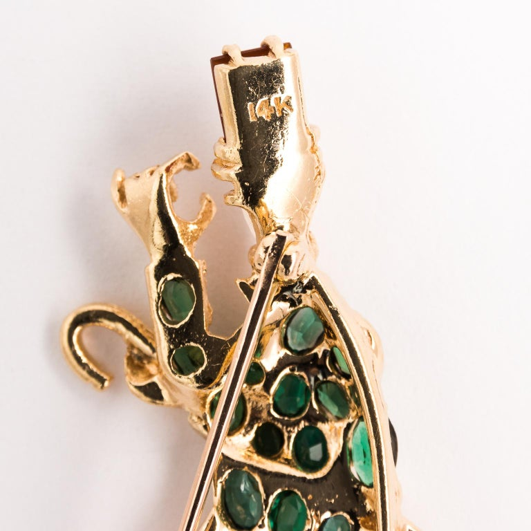 Gentleman and Lady Green Tourmaline Zircon Multi-Gem Brooch Pin For Sale 5
