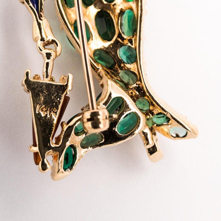 Gentleman and Lady Green Tourmaline Zircon Multi-Gem Brooch Pin For Sale 7