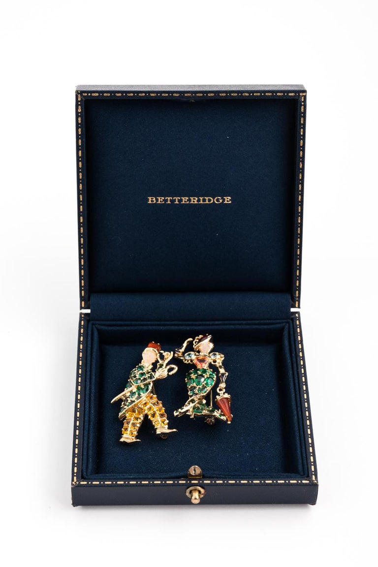 Gentleman and Lady Green Tourmaline Zircon Multi-Gem Brooch Pin For Sale 8