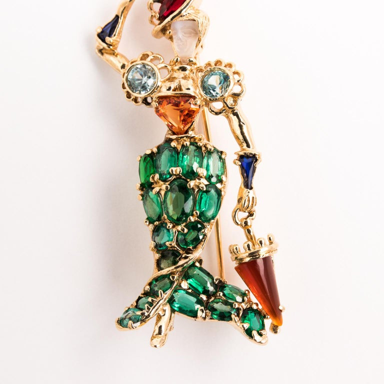 Gentleman and Lady Green Tourmaline Zircon Multi-Gem Brooch Pin In Good Condition For Sale In St.amford, CT