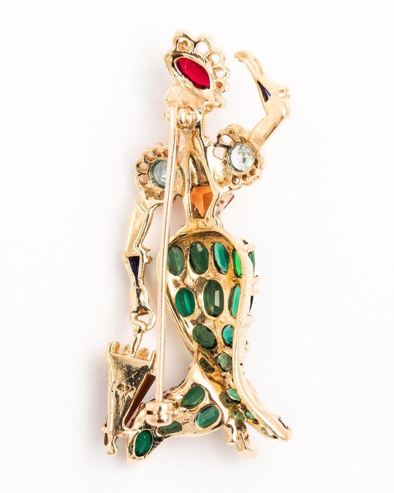 Women's Gentleman and Lady Green Tourmaline Zircon Multi-Gem Brooch Pin For Sale