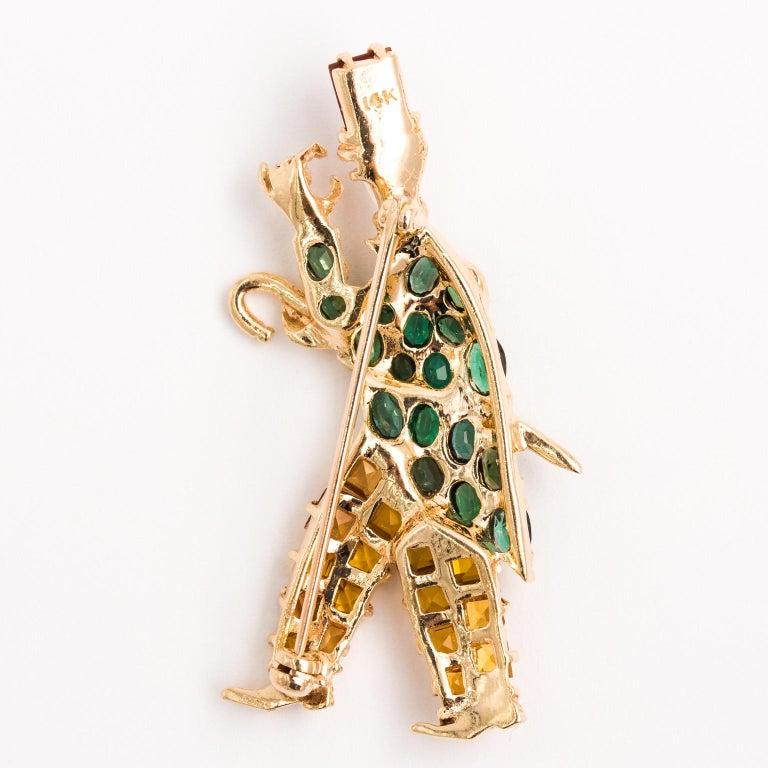 Gentleman and Lady Green Tourmaline Zircon Multi-Gem Brooch Pin For Sale 4