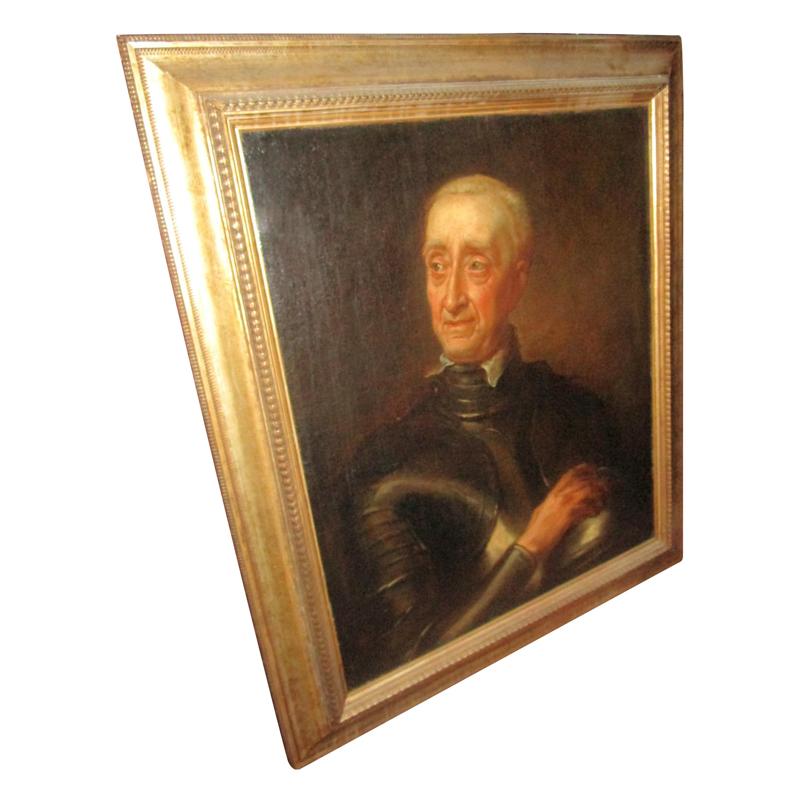 Gentleman Dressed in Armour Framed Oil on Canvas