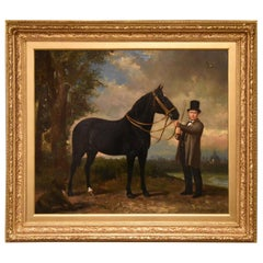 """Gentleman with Horse and Hound"" Painting by Frederick Philips"