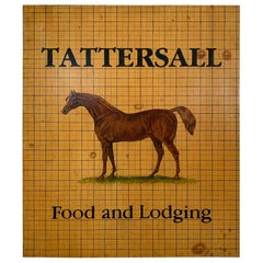Gentlemanly Hand Painted Equestrian Motife Tattersall Food and Lodging Sign