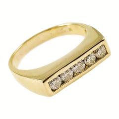 Gentleman's 14 Karat Yellow Gold Channel Set Diamond Ring