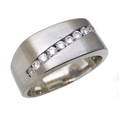 Gentleman's 18 Karat White Gold Channel Set Diamond Ring