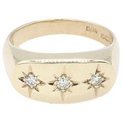 Gentlemans 9 Kt Yellow Gold Star Set Three Diamond Ring