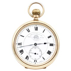 Gentleman's 9 Karat Yellow Gold Open Faced Pocket Watch by Thomas Russell