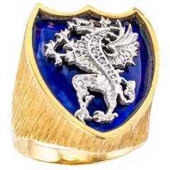 Gentlemans Blue Enamel Diamond Dragon Crest Yellow Gold Ring