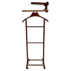 Gentleman's Collapsible Wood Travel Valet Stand on Wheels 1950s Made in Italy