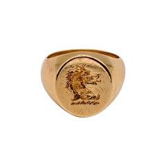 Gentleman's Gold Intaglio Chimera Ring
