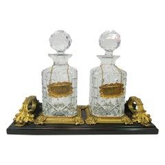 Gentleman's Vintage Crystal & Marble Decanter Set