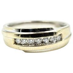 Gents 14 Karat White Gold 0.42 Carat Diamond Wedding Band