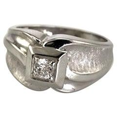 Gent's 14 Karat White Gold Diamond Solitaire Ring .25 Carat 6.9 Grams