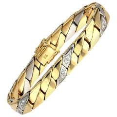 Gents Diamond Curb Bracelet in Bimetal 18 Carat White & Yellow Solid Gold