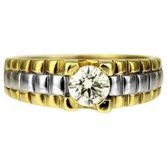 Gents Diamond Single Stone Ring in Bimetal 18 Carat Gold