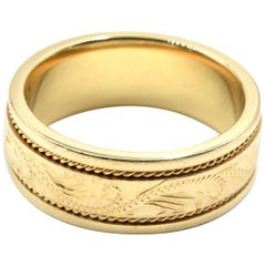 Gents Filigree Engraved Wedding Band 14 Karat Yellow Gold