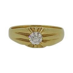 Gents Gypsy Diamond Solitaire Ring 18 Karat Yellow Gold