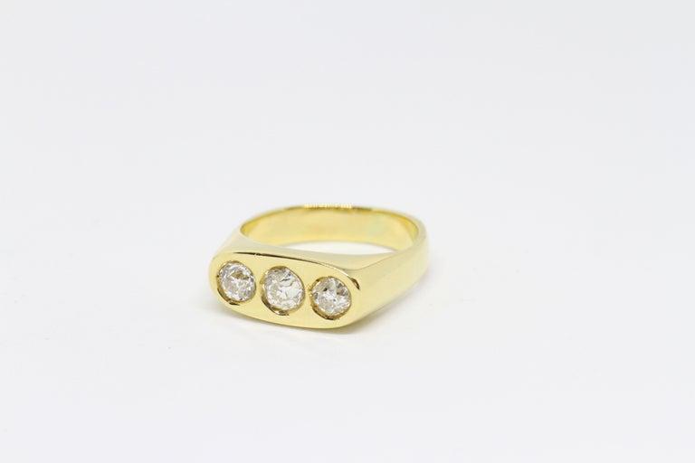 5a806fa232483 Gents Old Cut Diamond Three-Stone 'Gypsy' Ring