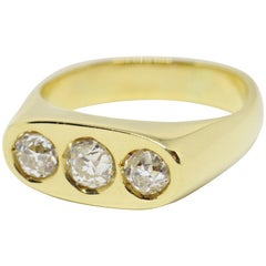 Gents Old Cut Diamond Three-Stone 'Gypsy' Ring