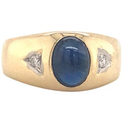 Gents Sapphire Diamond Ring 14 Karat Yellow Gold