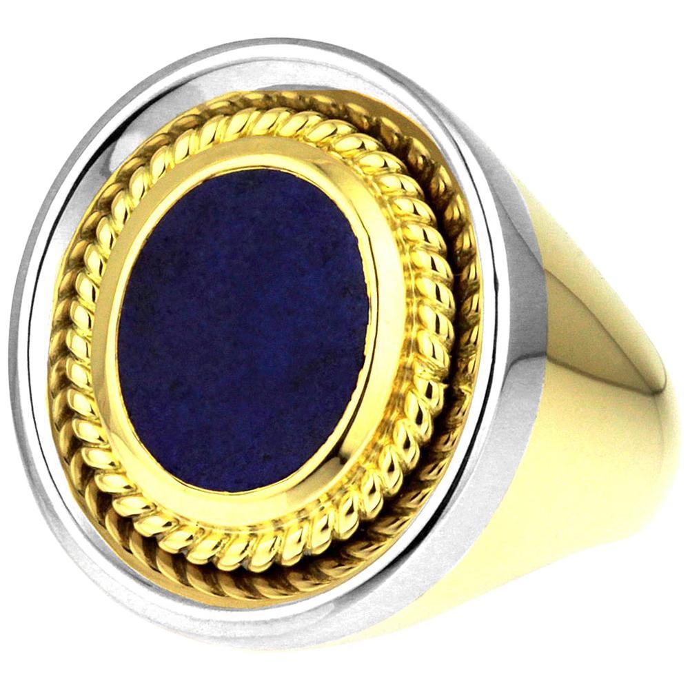 Vintage, Gents Signet Ring, Blue Lapis Lazuli in Bimetal 18K White & Yellow Gold