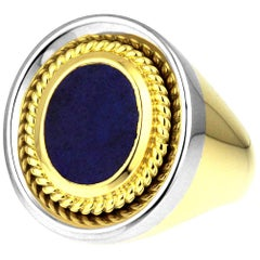 Vintage, Gents Signet Ring, Blue Lapis Lazuli in Bimetal 18K White & Yellow Gold