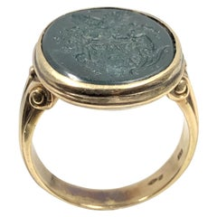 Gents Victorian Gold and Blood Stone Intaglio Signet Ring