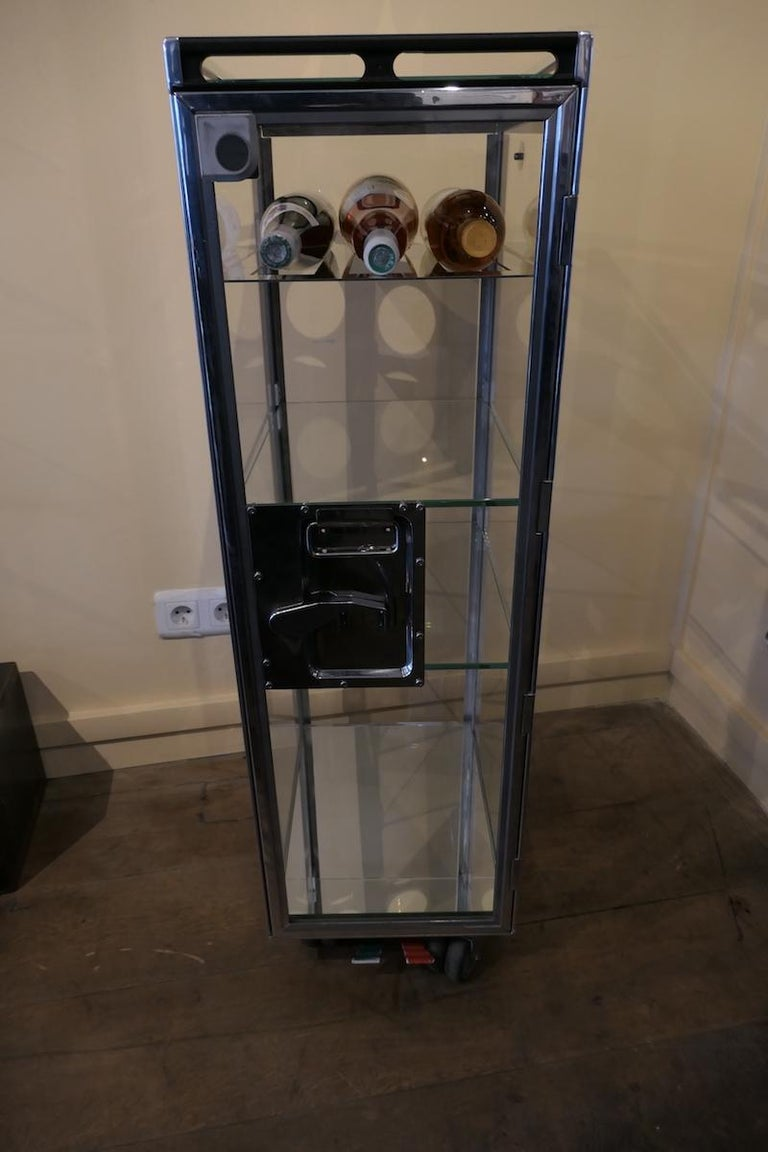 Glass Genuine Aircraft Vintage Bar Trolley Transparent For Sale