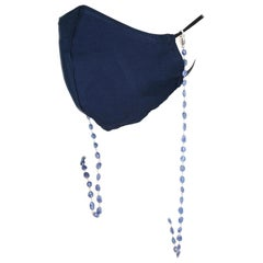 Genuine and Natural Blue Sapphire Beads Wire-Wrapped Beads Mask Chain, Silver