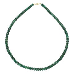 Genuine and Natural Deep Green Fine Emerald Plain and Smooth Bead Necklace