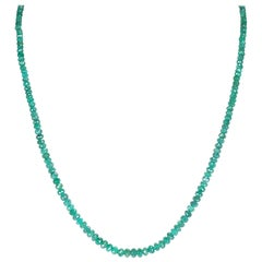 Genuine and Natural Emerald Faceted Beads Necklace, 14 Karat Yellow Gold