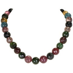 Genuine and Natural Large Round and Faceted Multi-Tourmaline Beads Necklace Gold