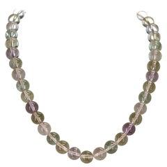 Genuine and Natural Multicolored Round Plain Kunzite Beads Necklace, 14 Karat