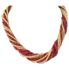 Genuine and Natural Red Spinel and Yellow Sapphire Faceted Beads Choker Necklace