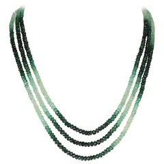 Genuine and Natural Shaded and Faceted Emerald Beads Necklace, 14K Yellow Gold